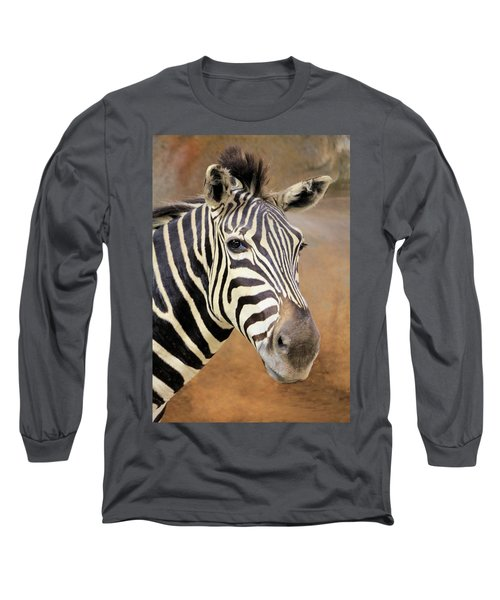 Portrait Of A Zebra Long Sleeve T-Shirt by Rosalie Scanlon