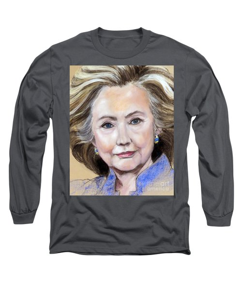 Pastel Portrait Of Hillary Clinton Long Sleeve T-Shirt