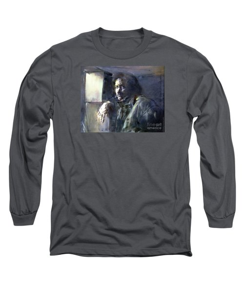 Portrait Of Kip Hanrahan - At The 11th Street Studio, Nyc - Long Sleeve T-Shirt