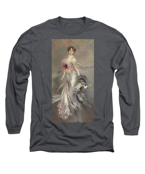 Portrait Of Marthe Regnier Long Sleeve T-Shirt by Giovanni Boldini