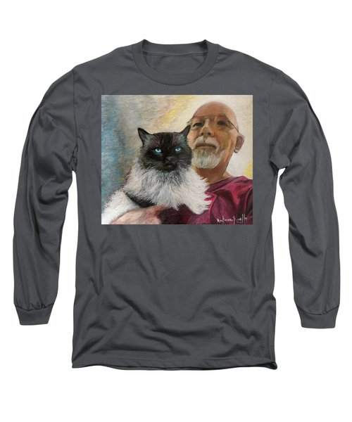 Portrait Of Veda And Ron Long Sleeve T-Shirt by Ron Richard Baviello