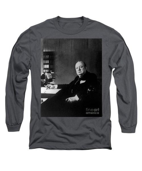 Portrait Of Winston Churchill  Long Sleeve T-Shirt
