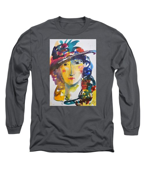 Portrait Of Woman With Flower Hat Long Sleeve T-Shirt by Amara Dacer
