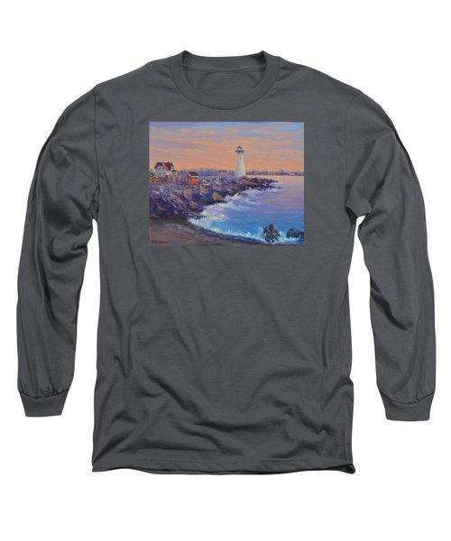 Portsmouth Lighthouse Sunset Peaceful  Coastal Painting Long Sleeve T-Shirt