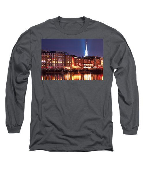 Portsmouth Waterfront At Night Long Sleeve T-Shirt