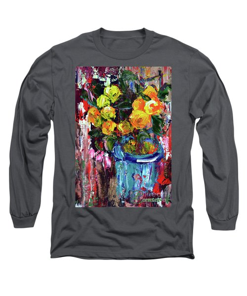 Potted Mini Oranges Long Sleeve T-Shirt by Lynda Cookson