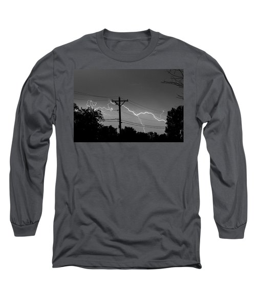 Power Lines Bw Fine Art Photo Print Long Sleeve T-Shirt