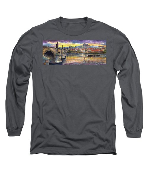Prague Charles Bridge And Prague Castle With The Vltava River 1 Long Sleeve T-Shirt