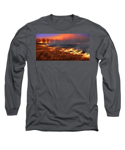 Long Sleeve T-Shirt featuring the photograph Prairie Burn by Rod Seel