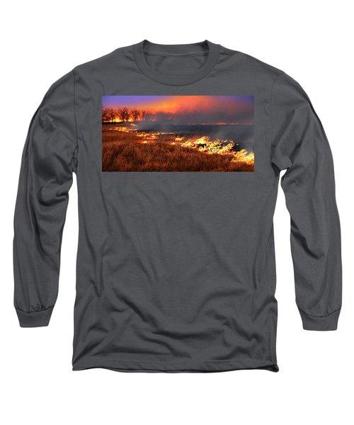 Prairie Burn Long Sleeve T-Shirt by Rod Seel