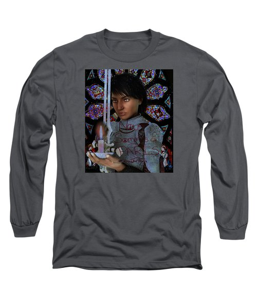 Long Sleeve T-Shirt featuring the painting Pray For France Joan Of Arc by Suzanne Silvir