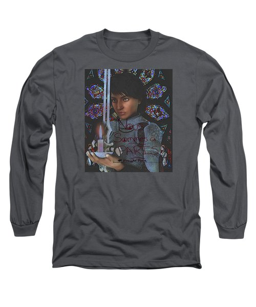Long Sleeve T-Shirt featuring the painting Pray For Paris Joan Of Arc by Suzanne Silvir