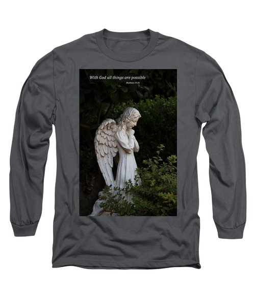 Long Sleeve T-Shirt featuring the photograph Praying Angel With Verse by Kathleen Scanlan