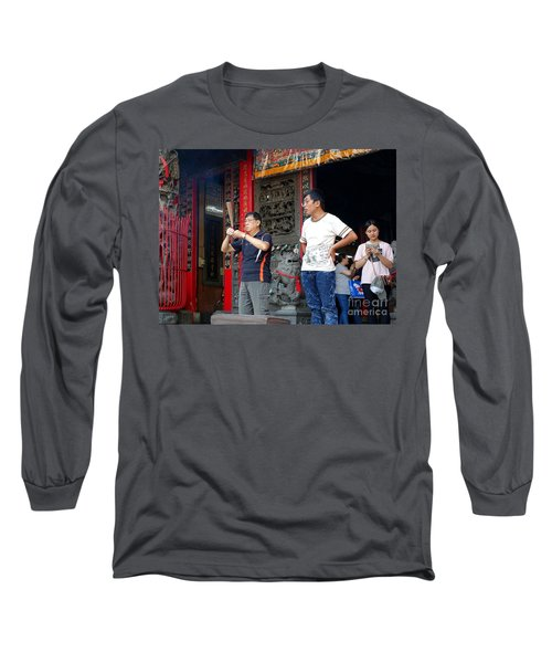 Long Sleeve T-Shirt featuring the photograph Praying At A Temple In Taiwan by Yali Shi