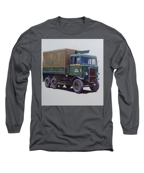 Long Sleeve T-Shirt featuring the painting Pre-war Leyland Wrecker. by Mike Jeffries