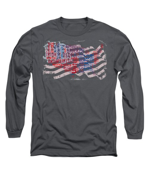Preamble To The Constitution On Us Map Long Sleeve T-Shirt by Paulette B Wright
