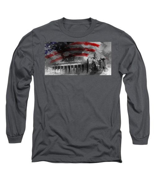 Long Sleeve T-Shirt featuring the painting President Lincoln  by Gull G