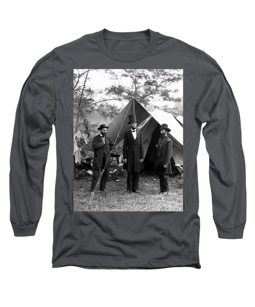 President Lincoln Meets With Generals After Victory At Antietam Long Sleeve T-Shirt by International  Images