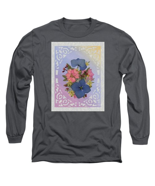 Pressed Flowers Arrangement With Pink Larkspur And Hydrangea Long Sleeve T-Shirt