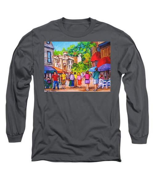 Long Sleeve T-Shirt featuring the painting Prince Arthur Street Montreal by Carole Spandau