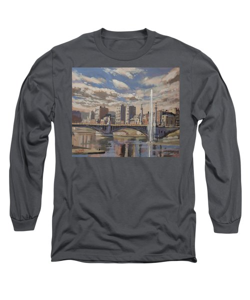 Printemps Sur Le Pont Fragnee Liege Long Sleeve T-Shirt by Nop Briex