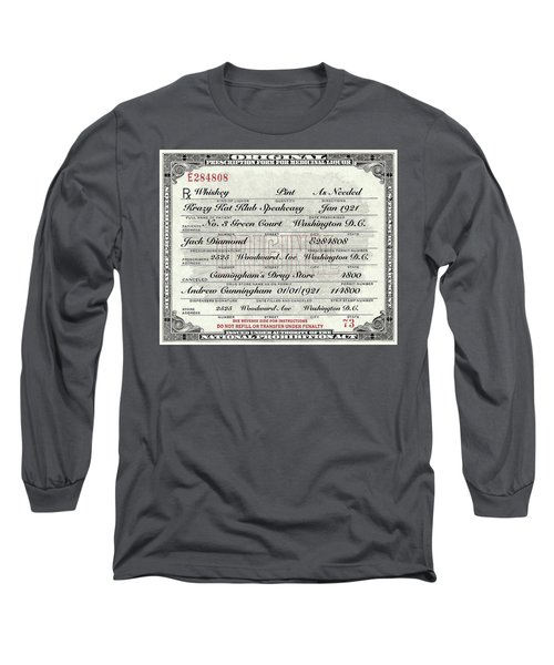 Long Sleeve T-Shirt featuring the photograph Prohibition Prescription Certificate Krazy Kat Klub by David Patterson