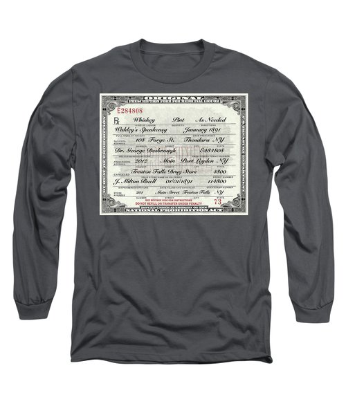 Long Sleeve T-Shirt featuring the photograph Prohibition Prescription Certificate Speakeasy by David Patterson