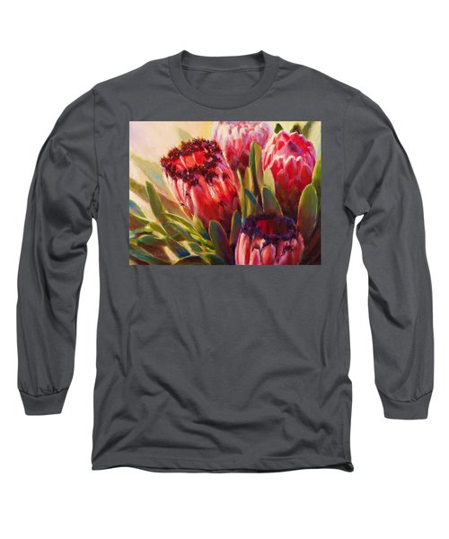 Long Sleeve T-Shirt featuring the painting Protea - Tropical Flowers From Hawaii by Karen Whitworth