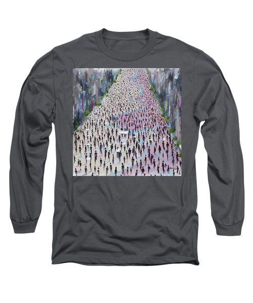 Long Sleeve T-Shirt featuring the painting Protesters by Judith Rhue