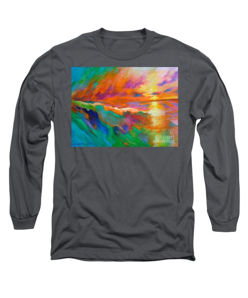 Long Sleeve T-Shirt featuring the painting Psychedelic Sea by Alison Caltrider
