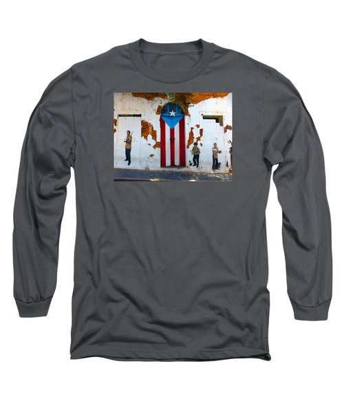 Puerto Rican Flag On Wooden Door Long Sleeve T-Shirt