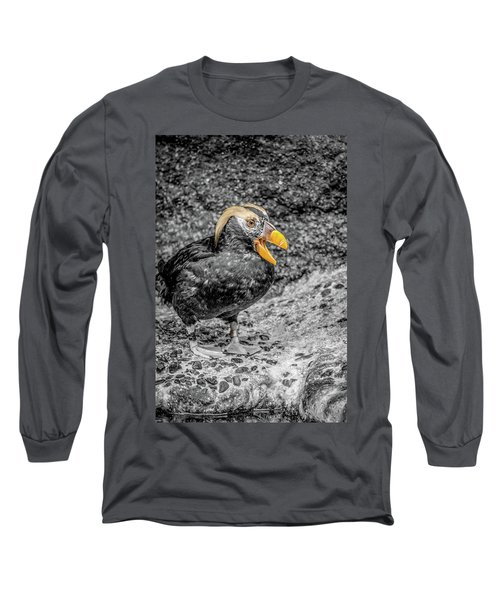 Puffin Bw With Splash Of Color Long Sleeve T-Shirt