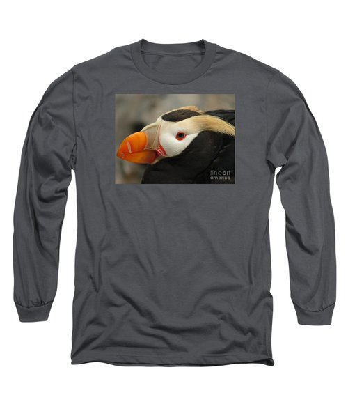 Puffin Portrait Long Sleeve T-Shirt by Lew Davis