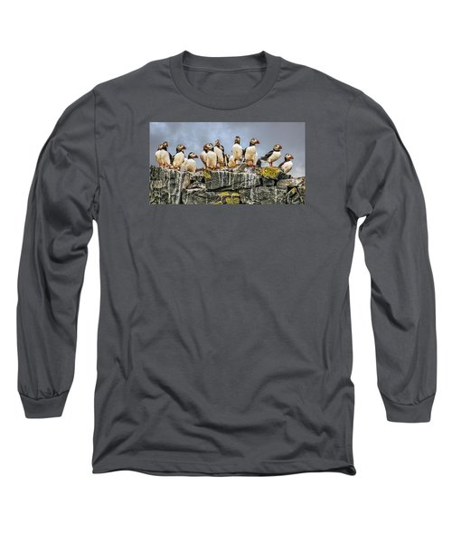 Long Sleeve T-Shirt featuring the photograph Puffin's Rock by Brian Tarr