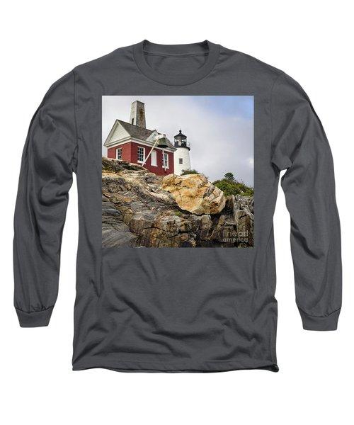 Long Sleeve T-Shirt featuring the photograph Pumphouse And Tower, Pemaquid Light, Bristol, Maine  -18958 by John Bald