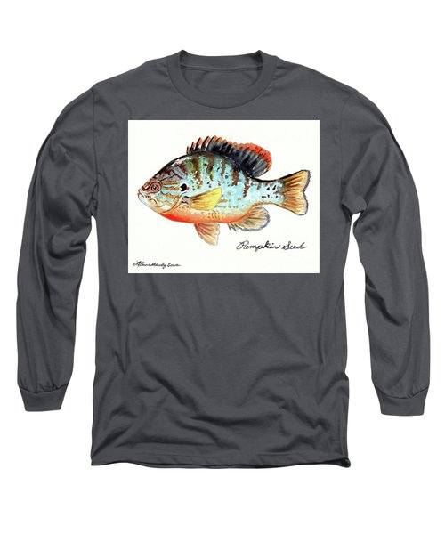 Long Sleeve T-Shirt featuring the painting Pumpkin Seed Fish by LeAnne Sowa