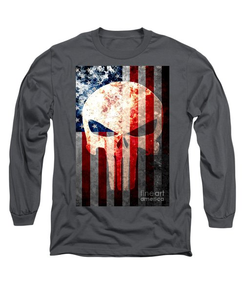 Punisher Themed Skull And American Flag On Distressed Metal Sheet Long Sleeve T-Shirt