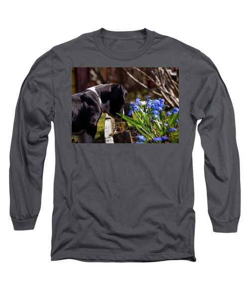 Puppy And Flowers Long Sleeve T-Shirt