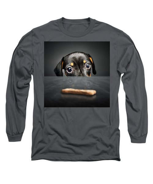 Puppy Longing For A Treat Long Sleeve T-Shirt by Johan Swanepoel