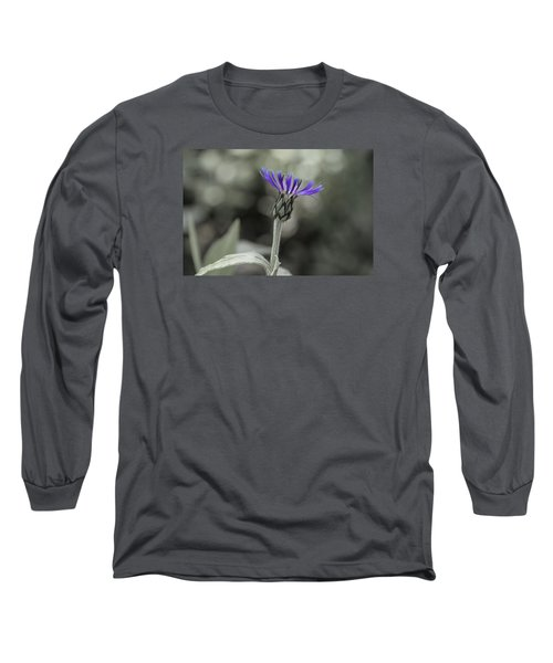 Purple And Grey Long Sleeve T-Shirt by David Stasiak