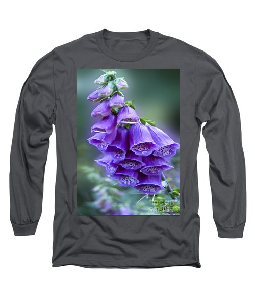 Purple Bell Flowers Foxglove Flowering Stalk Long Sleeve T-Shirt by Carol F Austin