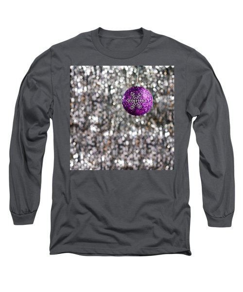 Long Sleeve T-Shirt featuring the photograph Purple Christmas Bauble  by Ulrich Schade