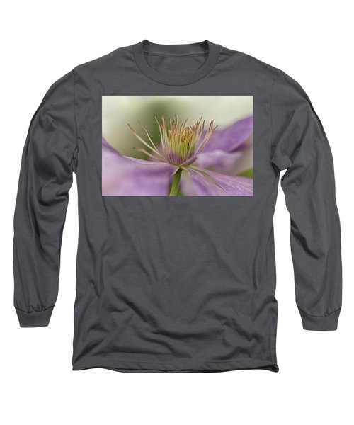 Purple Clematis Macro Long Sleeve T-Shirt by Jacqi Elmslie