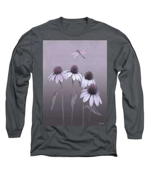 Purple Coneflowers And Dragonfly Long Sleeve T-Shirt