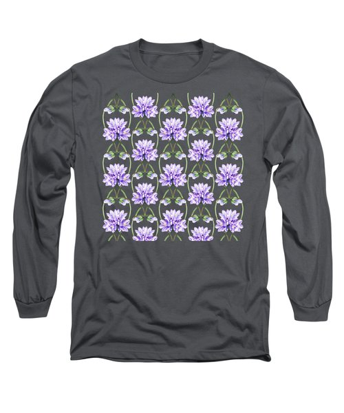 Purple Flowers Hearts Pattern Long Sleeve T-Shirt