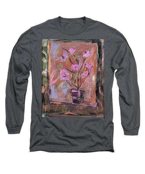 Purple Flowers In Vase Long Sleeve T-Shirt