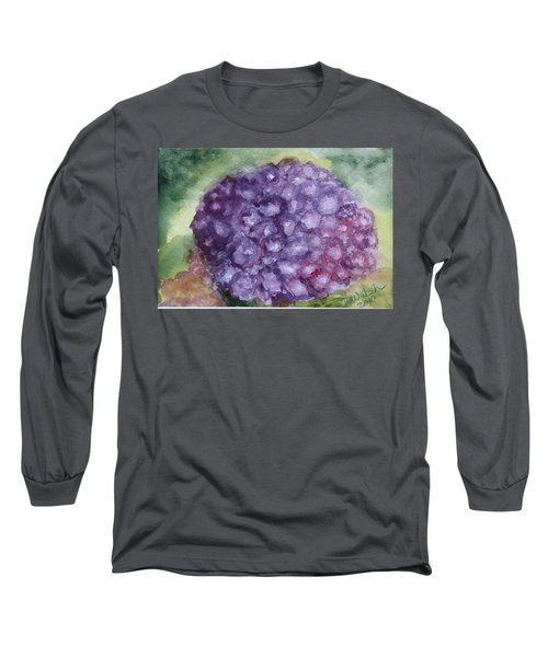 Long Sleeve T-Shirt featuring the painting Purple Hydrangea by Donna Walsh