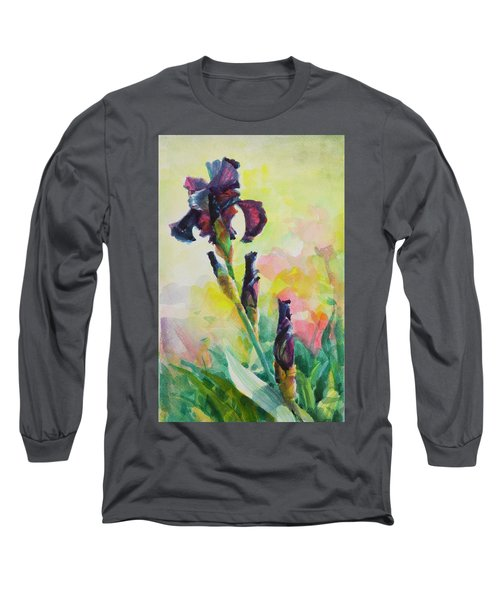 Long Sleeve T-Shirt featuring the painting Purple Iris by Steve Henderson