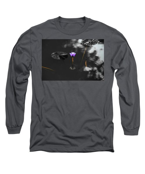 Purple Lily In Black And White Long Sleeve T-Shirt