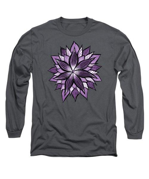 Purple Mandala Like Ink Drawn Abstract Flower Long Sleeve T-Shirt